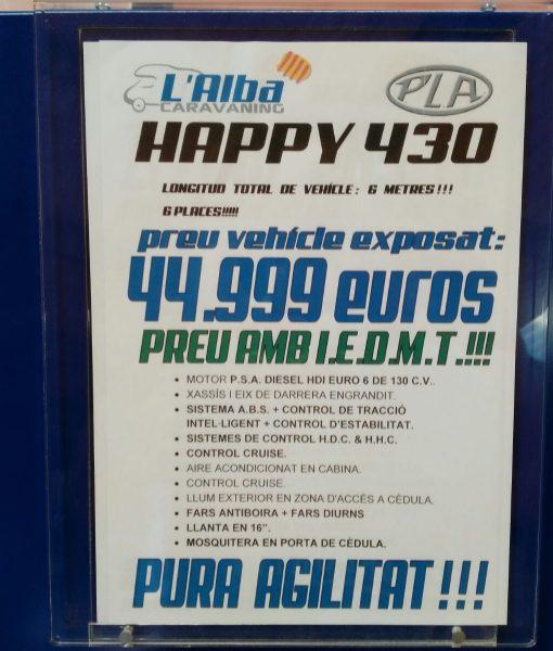 Autocaravana PLA Happy 430 6 plazas precio