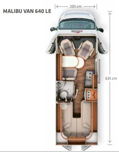 furgoneta camper carthago malibú 640 dimensiones